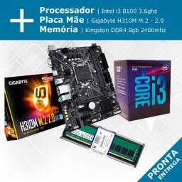Kit - Processador Intel i3 8100 + Placa Mãe Gigabyte H310M M.2 + Memória Kingston DDR4 8gb