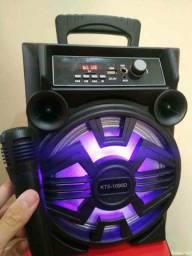 Caixa de Som KTS 1090 com Bluetooth Microfone e Controle Remoto Inclusos!: