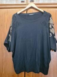 Camisa preta com bordado tamanho GG