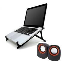 Título do anúncio: NOVO! KIT Suporte de Notebook + Caixa de Som USB