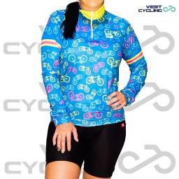 Camisa Ciclismo MTB Bike Manga Longa Feminina -  Vários Modelos