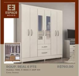 Título do anúncio: Guarda Roupas Real 6 Portas com Espelho #Entrega e Montagem Grátis
