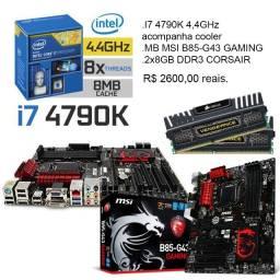 Kit Upgrade, i7 4790k 4,4GHz, placa mae gaming MSI, 16gb RAM