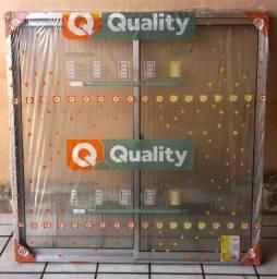 Título do anúncio: Janela de Correr Quality Home 2 Folhas Vidro Canelado 100X100CM
