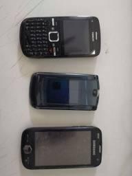 Celulares antigos colecionador Nokia C3, Motorola v8, Samsung ominia 2