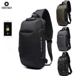 Bolsa de peito OZUKO masculino anti-roubo Bolsa impermeável com suporte USB