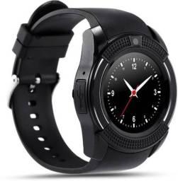 Relógio Redondo Conecta no Celular Smartphone Smartwatch V8 Preto