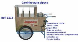 Título do anúncio: Carrocinha de pipoca inox com lampião e sistema de gás