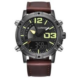 f828651b6cd Novo Relógio Curdden de Couro Dual Time Digital e Analógico 100% Novo e  Original