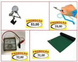 Ferramentas de bancada lupa, pulseira, amperímetro, suporte, pinças, chaves, cola, bateria