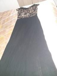 Vestido de Festa preto com paetês dourados