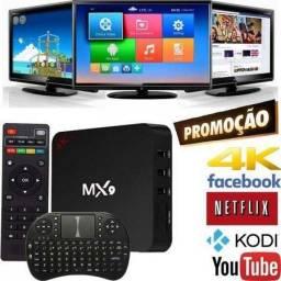 Kit Smart Tv Box MX9 com 2Gb Ram e 16Gb ROM + Mini Teclado Wireless sem Fio