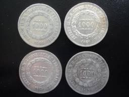 4 Moedas de Prata do Brasil de 1000 Réis Diferentes