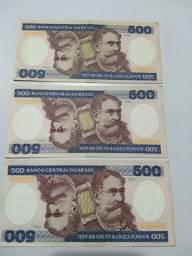 3 Cédulas De 500 Cruzeiros Em Série Fe