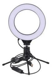 Ring Light Iluminador 6 Polegadas 16cm Usb Led Tripé Mesa