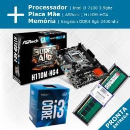 Kit Processador Intel i3 + Placa Mãe ASRock + Memória DDR4 8gb