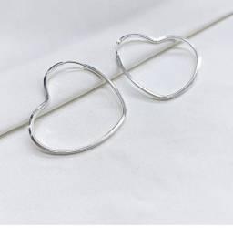 Brinco Prata 925 argola coração fio quadrado 3 cm