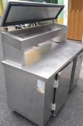 Título do anúncio: Balcão Condimentador de serviço frio   Refrigerado de encosto Em Aço Inox 1 porta