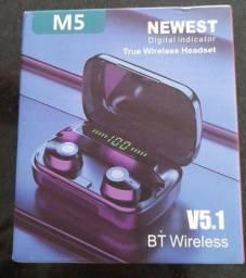 Fone de ouvido M5,TWS sem fio power Bank Bluetooth