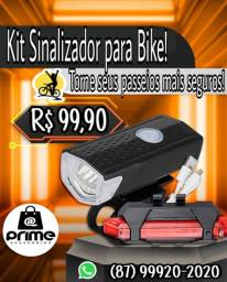 Kit de Sinalizador para Bike Recarregável (Farol + Lanterna)
