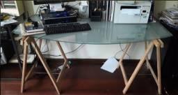 Mesa de vidro 13mm com cavaletes -Torro