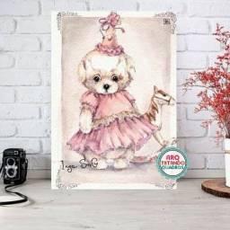 Placa Decorativa ursinha- Tam: A4