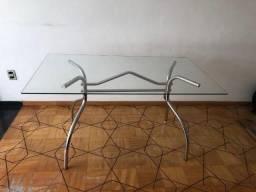Mesa aço -tampo vidro - para 6 cadeiras