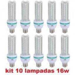 Kit 10 Lâmpada Led 4u E27 16w Bivolt 90%mais Econômica Branca