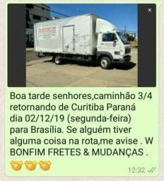 Urgente:Caminhão 3/4 saindo de Curitiba-PR P/Brasília-DF 02/12/19
