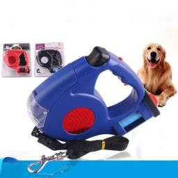 Guia Para Pets Retrátil com Led e Porta saquinho higiênico