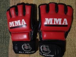 Luva MMA - Couro Vermelho - Tamanho L - usada