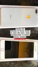 IPhone 8 Plus 64gb (1 ano de uso, bem conservado e fone nunca usado) Aceito cartões
