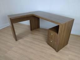 Título do anúncio: Mesa em L com 2 gavetas para escritório - Hyperbuy - Produto Novo