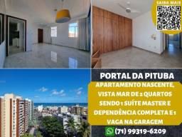 Título do anúncio: Portal da Pituba, nascente e vista mar, 2 quartos, suíte, 80m² e 1 vaga na garagem