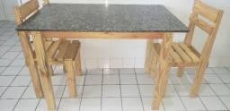 Título do anúncio: Mesa 4 lugares de pallet e tampo de mármore