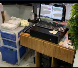 Título do anúncio: Computador + caixa registradora + móvel + gaveteiro + telefone
