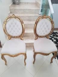Cadeiras Medalhão Duplo Antigas Folheadas a Ouro