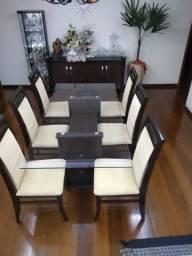 Mesa jantar tampo de vidro com 6 cadeiras