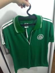 Camiseta polo feminina do Palmeiras com zíper 483529ecc45db