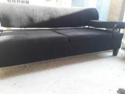 Sofá lindo 3lugare preto chenil sem rasgo