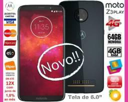 "Motorola Z3 Play Octa Core, 64GB, 4GB Ram, Tela 6.0"", Dual 12MP, Novo, Cx, NF, Gar Troco!"