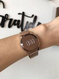 Relógio Feminino Lince Led Digital Pulseira Em Mesh