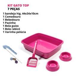 Gato Kit Completo Caixinha De Areia Com Acessórios Comedouro e Bebedouro Rosa + Brinde