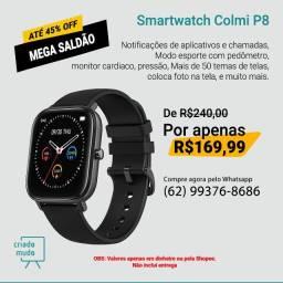 Smartwatch Colmi P8 Preto Pulseira de Silicone Compatível com IPhone e iOS Promoção
