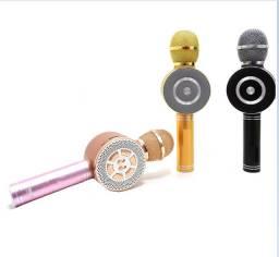 Microfone Karaokê S/Fio Mp3 Pen Driver Usb Bluetooth Potente
