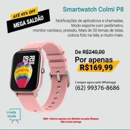 Smartwatch Colmi P8 Pulseira de Silicone Rosê Compatível com IPhone e iOS