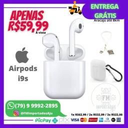 Título do anúncio: Fone Bluetooth Airpods I9s, Novo Completo. ENTREGA GRÁTIS AJU