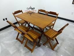 Título do anúncio: Mesa de Madeira de Lei com 6 Cadeiras Dobráveis 120x70