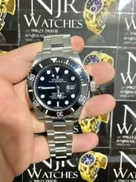 Relogio Rolex prata com preto automatico