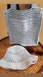 Título do anúncio: Kit bolsa estilo Prada  + bucket de crochê